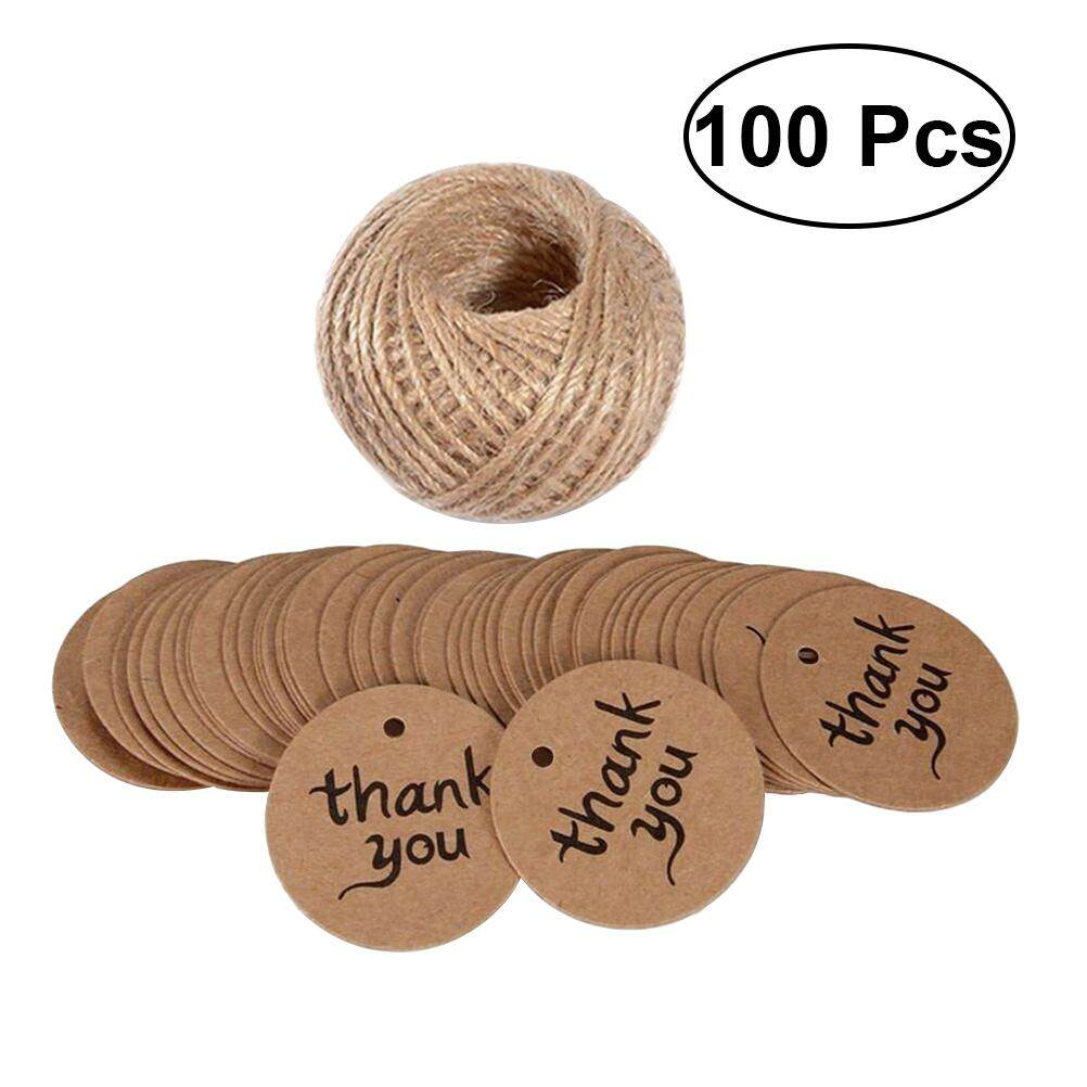 3d2505a03004 Eshopdeal 100pcs 4cm Paper Tag Thank You Card Kraft Paper Label Candy Box  Accessories Round edge Card