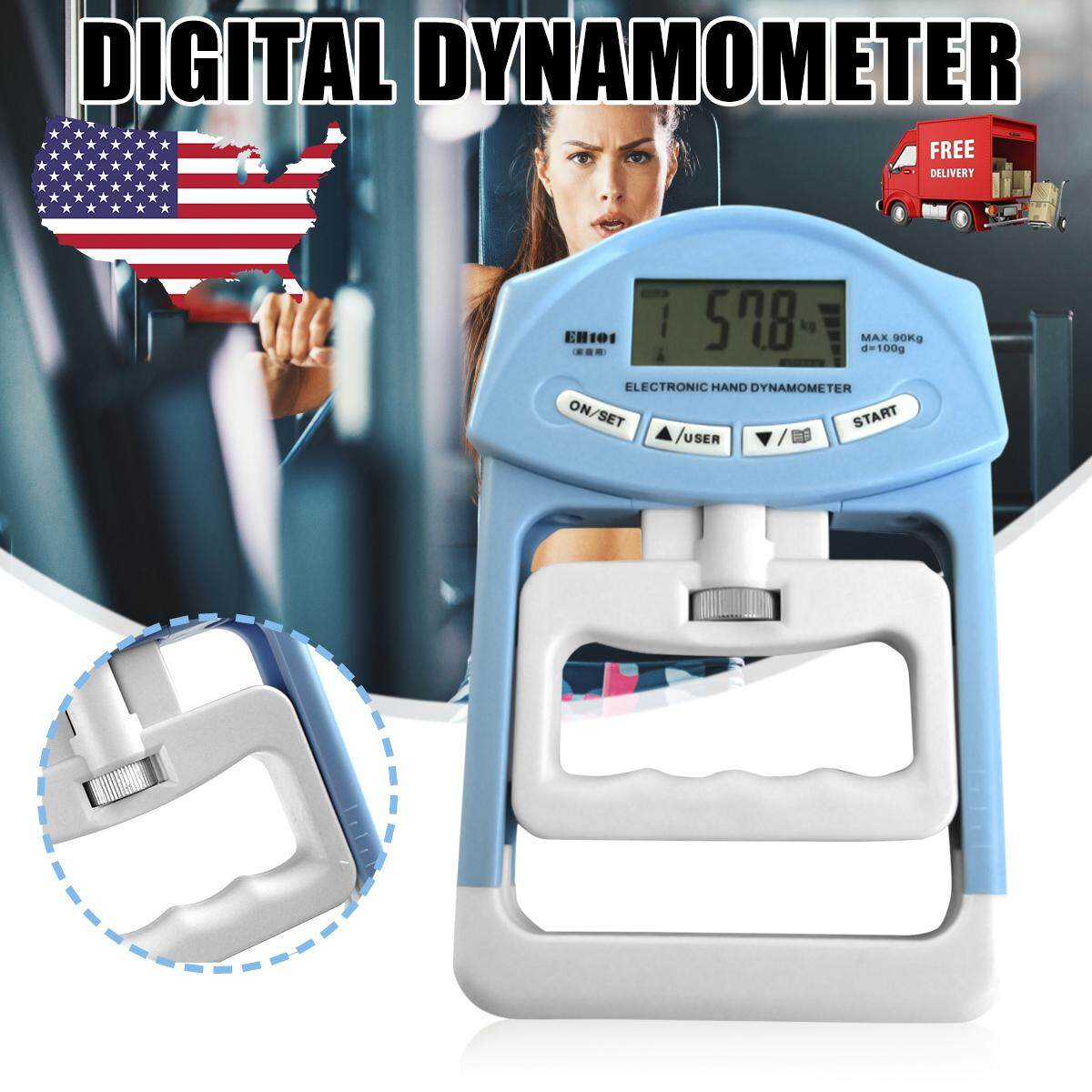 Hand Grippers Fitness, Running & Yoga 198lb/90kg Electronic Hand Grip Strength Dynamometer Meter Measuring Abdominal