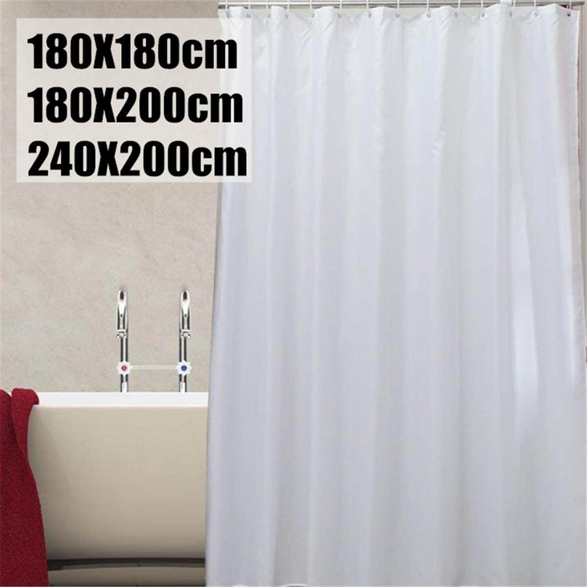 Plain White Fabric Shower Curtain With Hook Rings Hangers 180 180cm