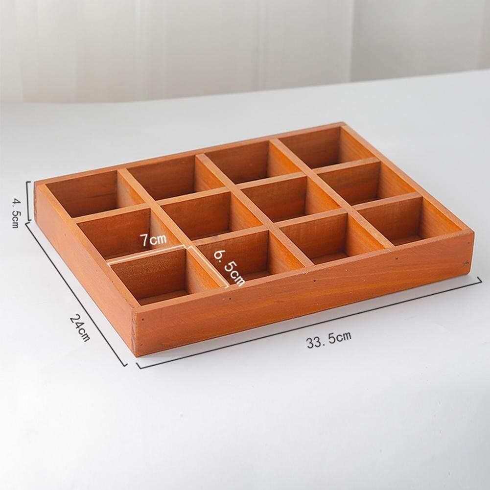 12 Grids Home Square Balcony Desktop Decorative Retro Wooden Storage Box