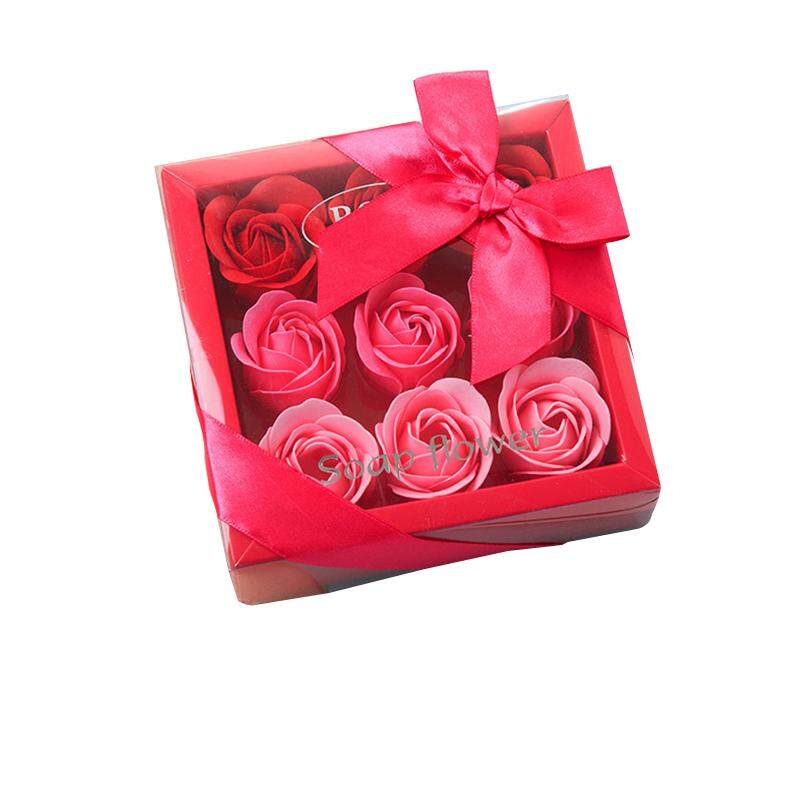 9 Pcs Rose Flower Soap Gift Box With Bow Tie And Birthday Door Valentine Mother Day