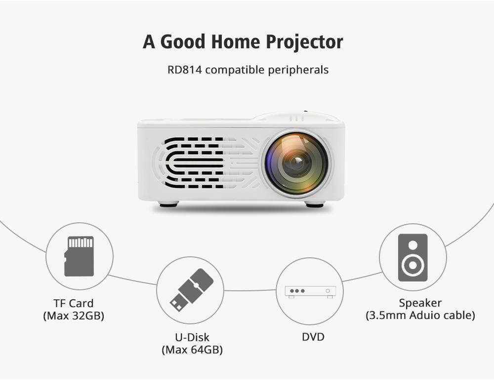 RD - 814 1080P Portable LED Mini Projector 320 x 240 Multimedia for Photo  Music Movie Text Home Theatre Cinema Video Media Player connect with TV  box/