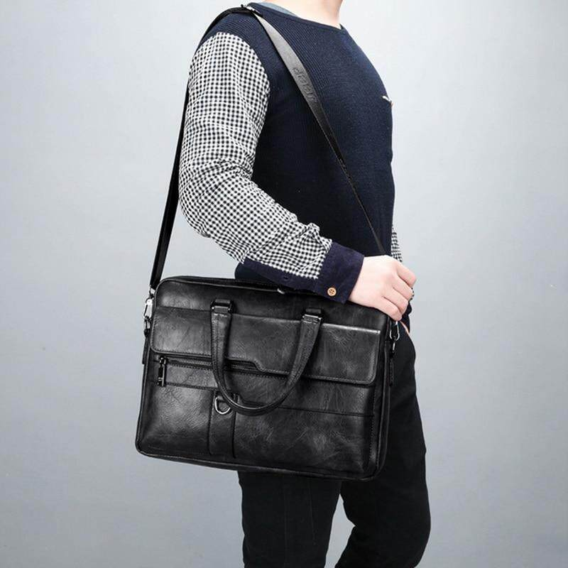 Men Business Faux Leather Handbag Messenger Shoulder Briefcase Laptop Bag Purse