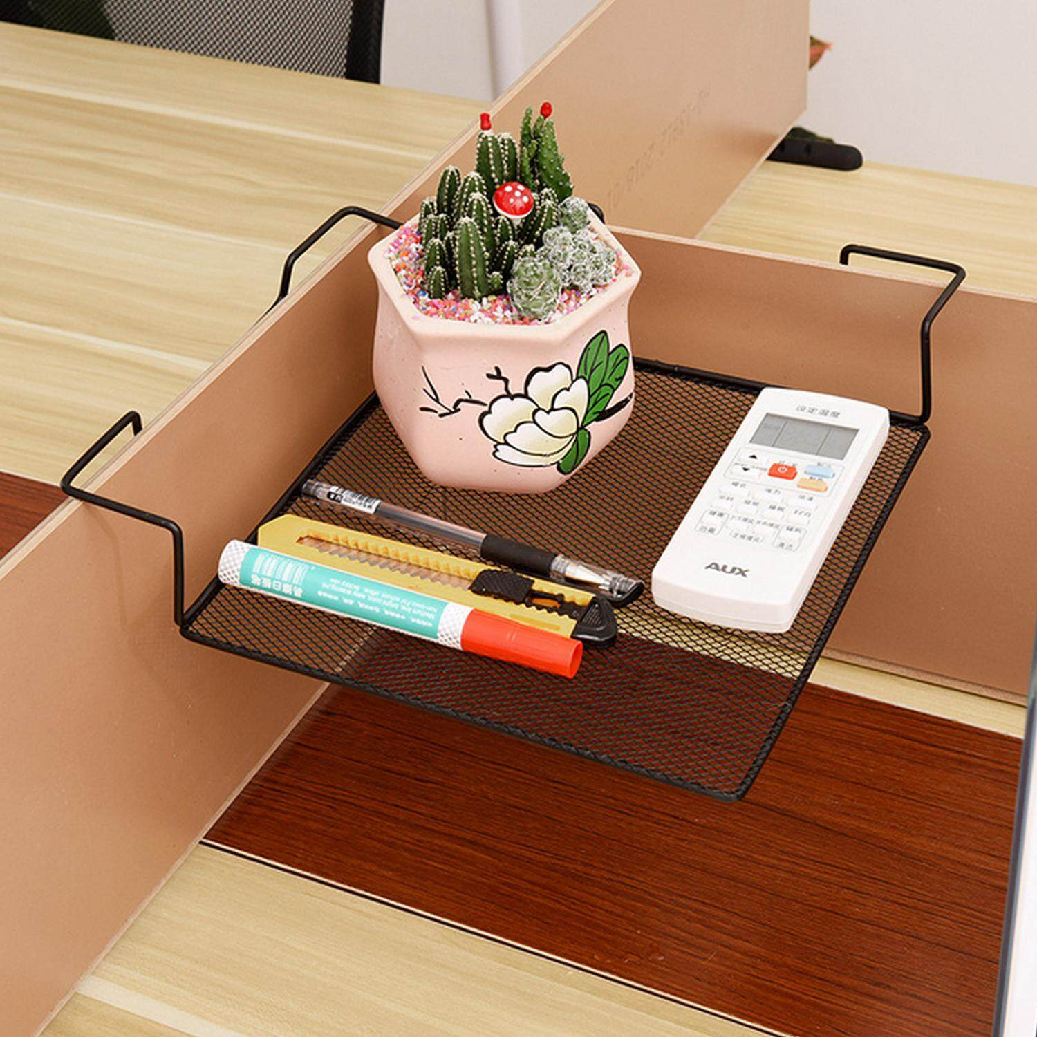 Fashion Square Iron Wire Balcony Office Cubicle Corner Storage Rack Shelf For Books Pens Telephone Plants Flower Pots Picture Frames