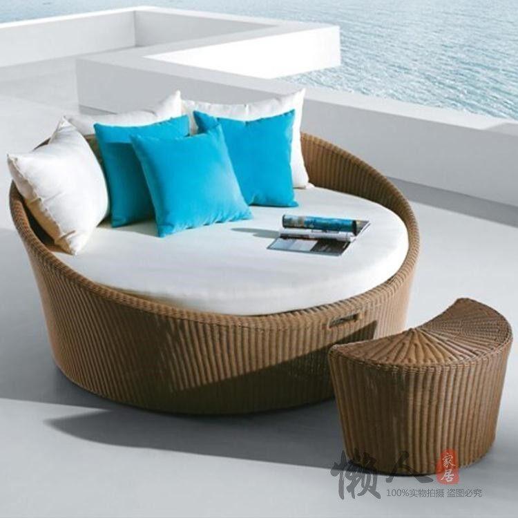 Outdoor Furniture Circle Bed Leisure Combination Garden Veranda Lounge Chair Rattan Pool Balcony Bed Single Person Rattan Sofa Lazada Singapore