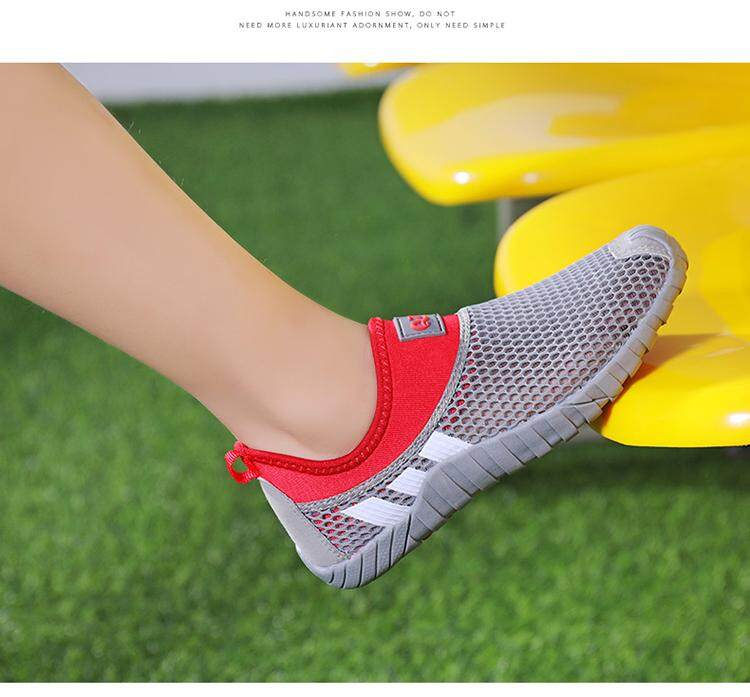 Children's sports shoes boy and girl children's shoes net face breathable  hollow out light running shoes summer shoes beach leisure joker shoes Q7
