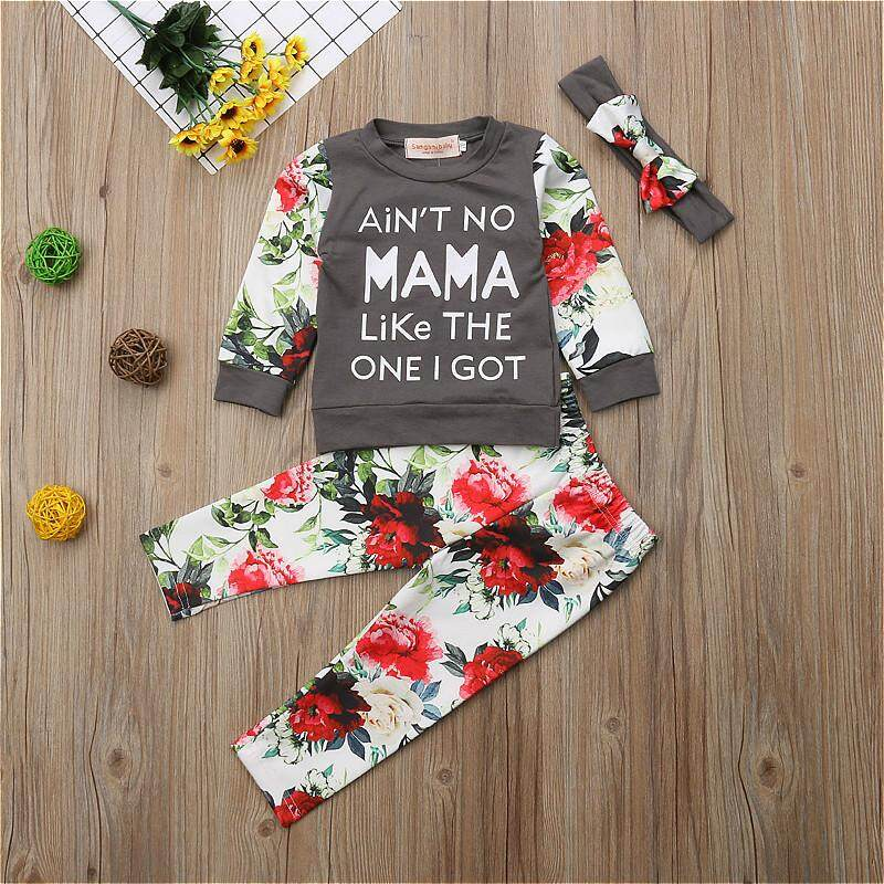 1ad03f2d6a22 Fashion Kids Baby Girls Floral Long Sleeve Tops Pants 3Pcs Outfits Set  Clothes
