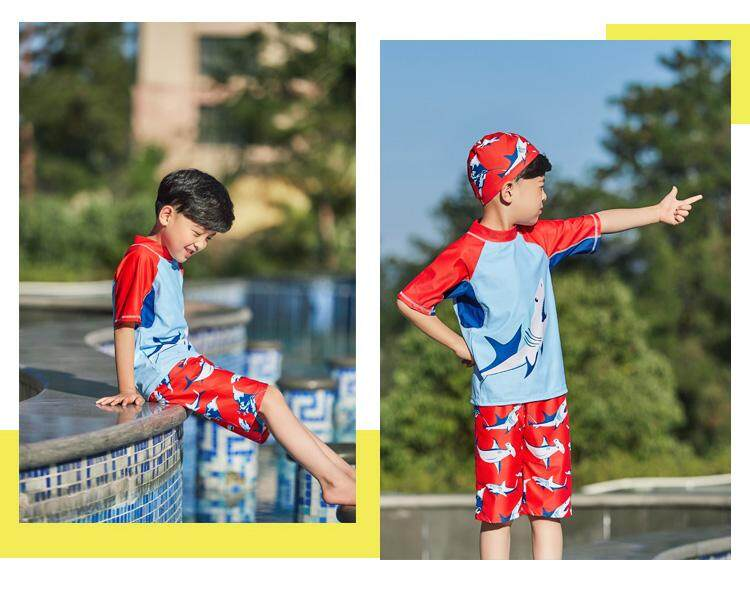 de363378f55 Specifications of Luoke 2019 New Swimwear Children Boy Swimsuit Two Pieces  Bathing Suits Short Sleeve Cute sportswear Kids Beach Swimming Suit