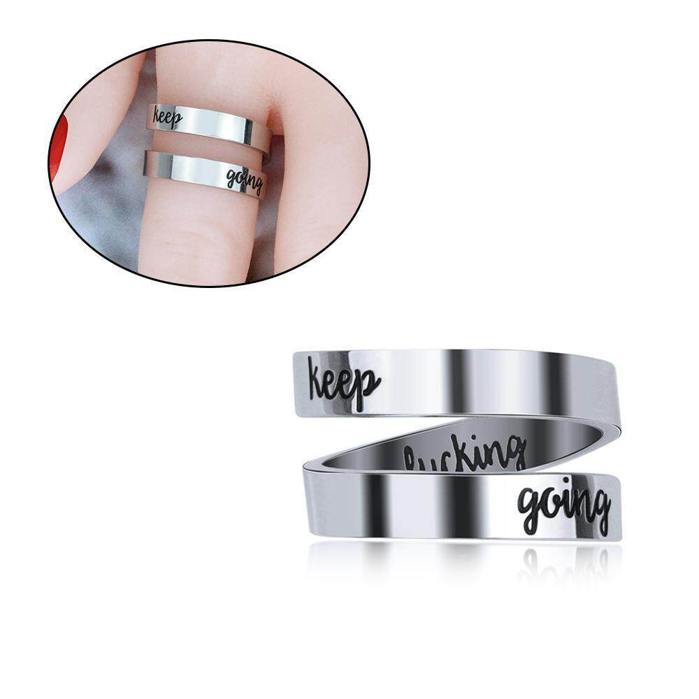 Bumblebaa Adjustable Ring Jewelry Personalized Rings Birthday Graduation Gifts For Girls Men S Silver Lucky Amulet Lettering Ring
