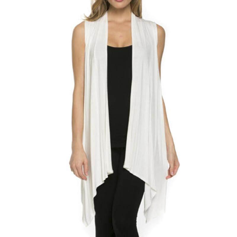 USA Women Solid Draped Front Sleeveless Cardigan Shawl Collar Vest Top S~XL