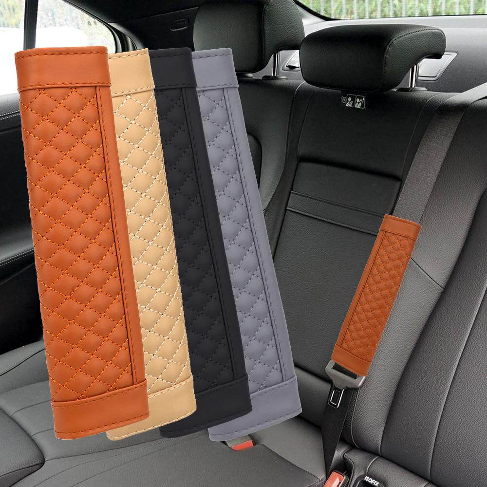 Gray Soft Car Seat Belt Cover Cushion Shoulder Harness Pads Auto Vehicle Padded