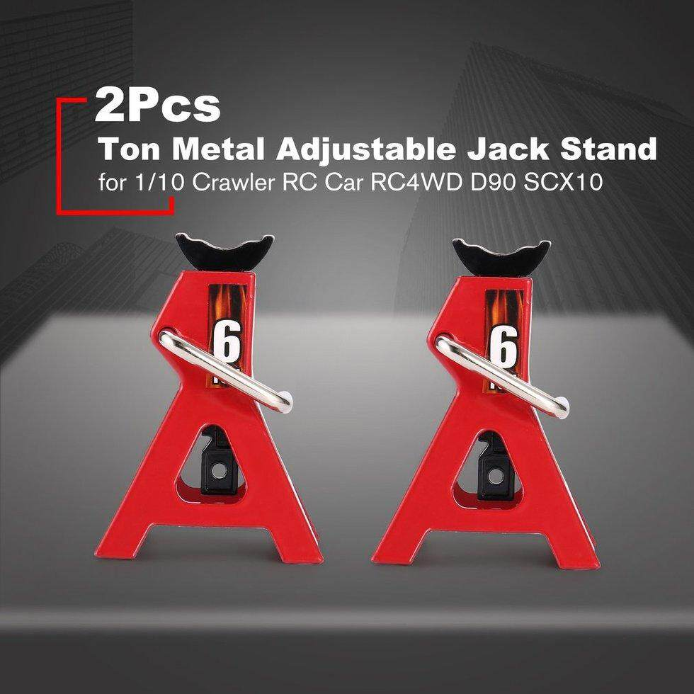 2Pcs Adjustable Height Jack Stand Repair Tool 6 Ton Scale Metal for 1/10  D90 Axial Wraith SCX10 Crawler RC Off-road Car
