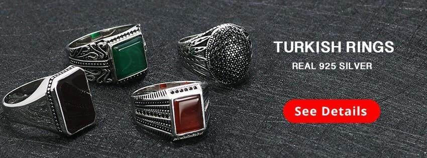 Real Pure 925 Sterling Silver Rings Cool Vintage Rings In Fijne Sieraden  Turkey Ring For Men Black Micro Pave Zircon