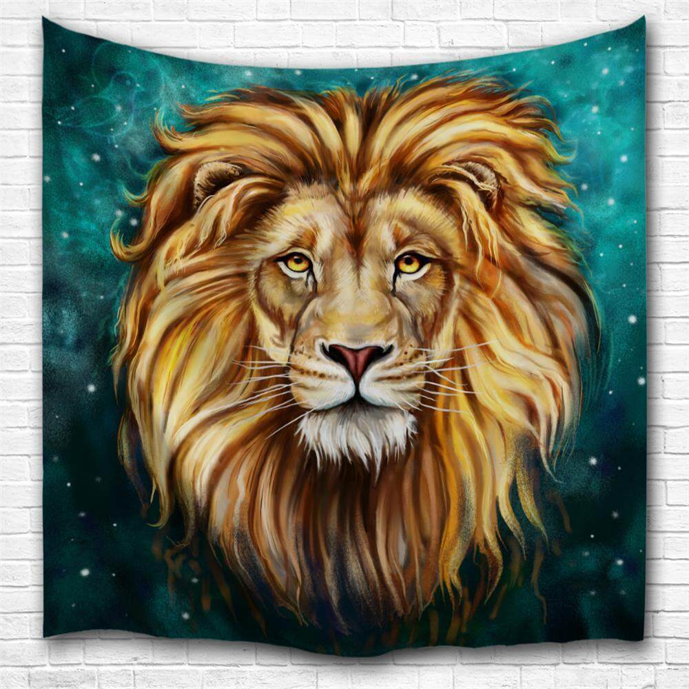 Green Lion King 3D Digital Printing Home Wall Hanging Nature Art Fabric Tapestry for Bedroom Living Room Decorations