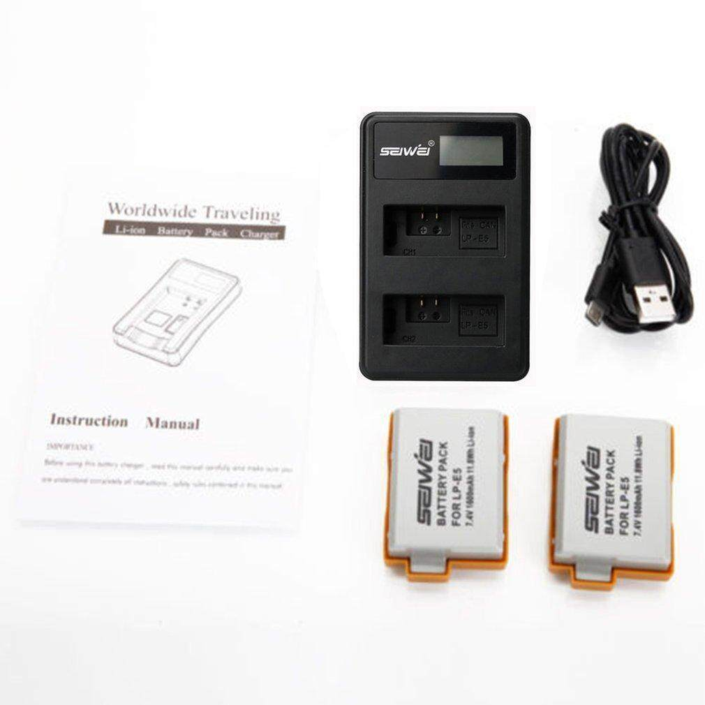 2 x LP-E5 1080mAh Battery LCD USB Dual Charger Kit For Canon Digital Rebel  Xsi