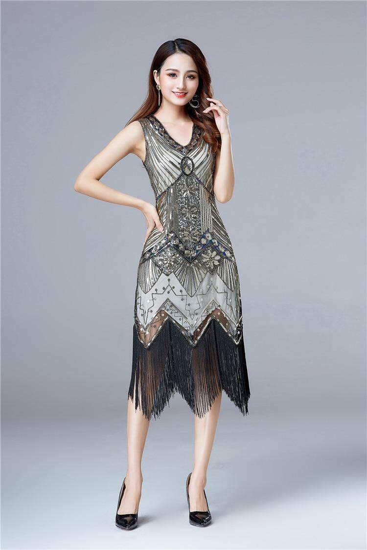 0e97d63d1 Women 1920 s Vintage Great Gatsby Dress Sequins Dress V-Neck Tassels ...