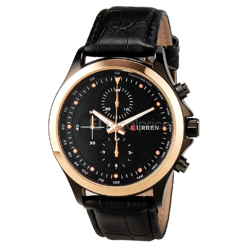 (100% Authentic) Curren 8138 Leather Strap Watch (Black) (Japan Movement 7T35)(One size) Malaysia