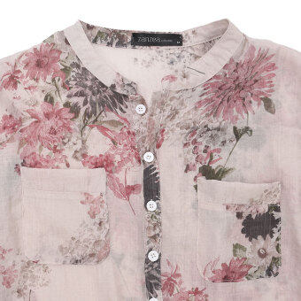 2016 Blusas Femininas Women Fashion V Neck Button Linen Shirts Plus Size Blouses Casual Vintage Floral Printed Long Tops Red - 4