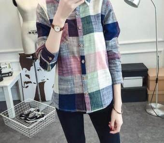 2017 Hot Sale Ladies Female Casual Cotton Long Sleeve Plaid ShirtWomen Slim Outerwear Blouse Tops Blusas Size Chemise Femme (Blue) - 3