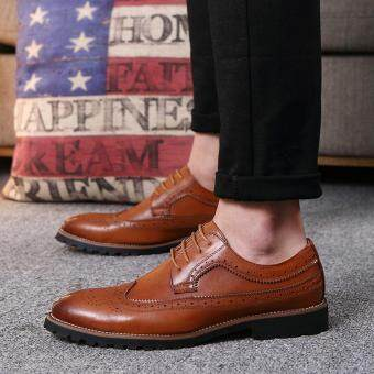 2017 Vintage Leather Men Dress Shoes Business Formal Brogue PointedToe Carved Oxfords Wedding Shoes - 2