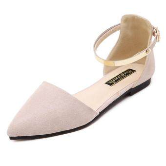 2017 Women's Pointed Toe Ankle Strap Shoes Ballet Flats SpringCasual Sandals BEIGE - 2