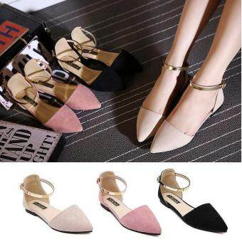 2017 Women's Pointed Toe Ankle Strap Shoes Ballet Flats SpringCasual Sandals BEIGE - 4