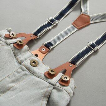 2Pcs Denim Suspender Pants + T-shirt Red - 2