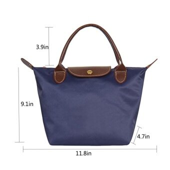 360DSC Small Size Fashion Folding Nylon Dumpling Shape Bag Handbag Tote Bag Beach Bag for Women - Dark Blue