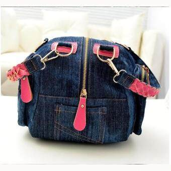 360DSC Women Multifunction Denim Handbag Crossbody Bag Shoulder Bag Rosy .