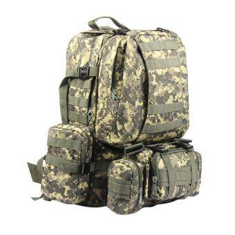 360WISH Detachable Outdoor 60L Multifunction Military Rucksacks Tactical Backpack Molle Assault Pack Trekking Bag - ACU