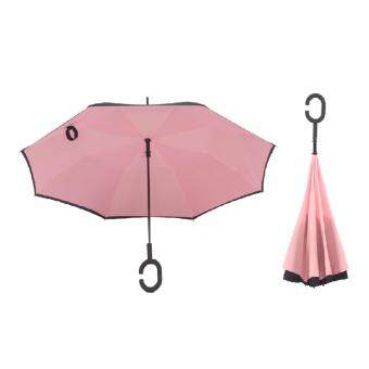 4CONNECT High Quality Unique Inverted Inside-Out Umbrella With C-Hook Handle - PINK
