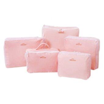 5 In 1 Multiples Storage Bags Packing Travel Luggage Organizer Bag (Pink)