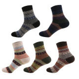 5 Pairs Man Mixed Colors Striped Socks Winter Thick Warm Socks