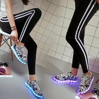 7ipupas Unisex Glowing sneakers women&men Luminous Led Sport shoes Poker Black Green graffiti Light up sole