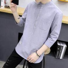 A01 Summer New Korea Style Young Men 3/4 Sleeve Slim Flax Shirt Plain Mandarin