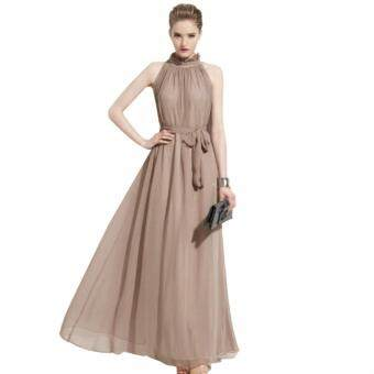 Acecharming Lady Women Sleeveless Elegant Maxi Chiffon Long Dress Chiffon Polyester 3 color (Khaki)