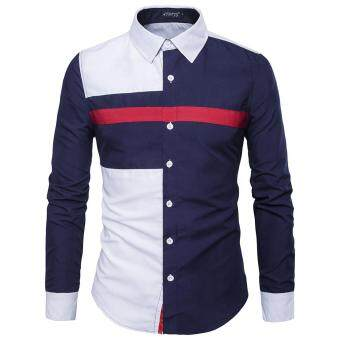 AOWOFS Men 's Long - Sleeved Shirt New Three - Color StitchingBritish Fashion Hit Color Shirt Fashion Men' S D5729 - Deep Blue