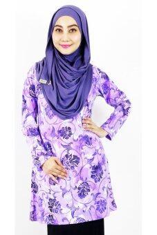 Aqeela Muslimah Wear Basic Top Purple Floral