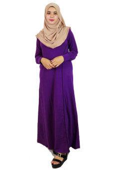 Aqeela Muslimah Wear Jubah with Piping Purple