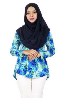 Aqeela Muslimah Wear Round Bottom Hawaian Shirt Blue