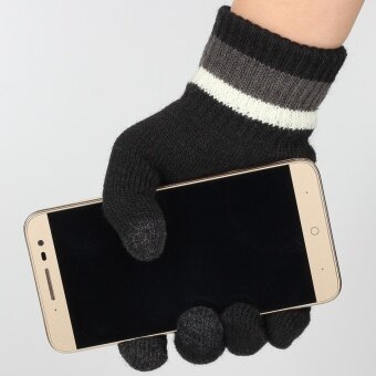 Ayiyun - Black Winter Knitted Outdoor Wrist Fitness Hand Gloves forWomen/men Unisex Glove Phone Touchable Screen Gloves - 4