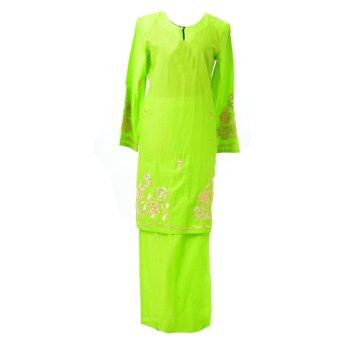 Baju Kurung Moden - Cotton Embroidery - 1185 - E13 (Parrot Green.)