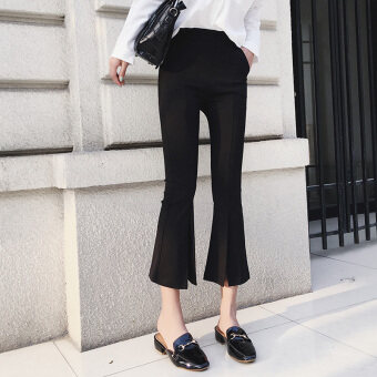 Black female waist slimming Bell-Bottom Pants pants (Split paragraph black) (Split paragraph black)