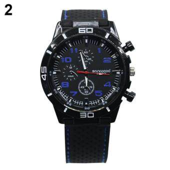 Bluelans(R) Blue Number Military Pilot Silicone Sport Wrist Watch