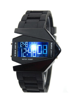 Harga Bluelans Digital Sports Quartz Rubber Wrist Watch (Black)