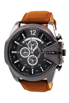 Harga Bluelans Men Brown Faux Leather Strap Watch