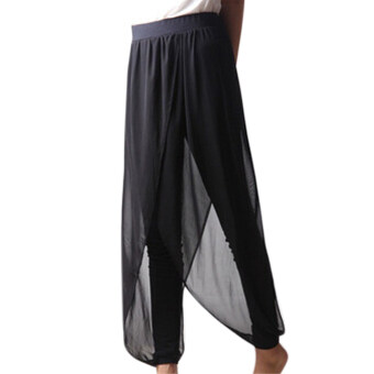 Harga Bluelans Women Chiffon Jointing Herem Pants Yoga Baggy LooseTrousers Black