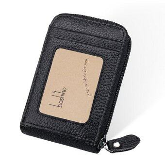 Boshiho RFID Blocking Card Holder Genuine Leather Credit Card CaseOrganizer Compact Wallet Zip Around Accordion Style(Black)