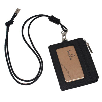Boshiho Saffiano Leather Badge Holder ID Card Holder with CoinChange Purse