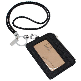 Boshiho Saffiano Leather Badge Holder ID Card Holder with CoinChange Purse(Black with Keychain)